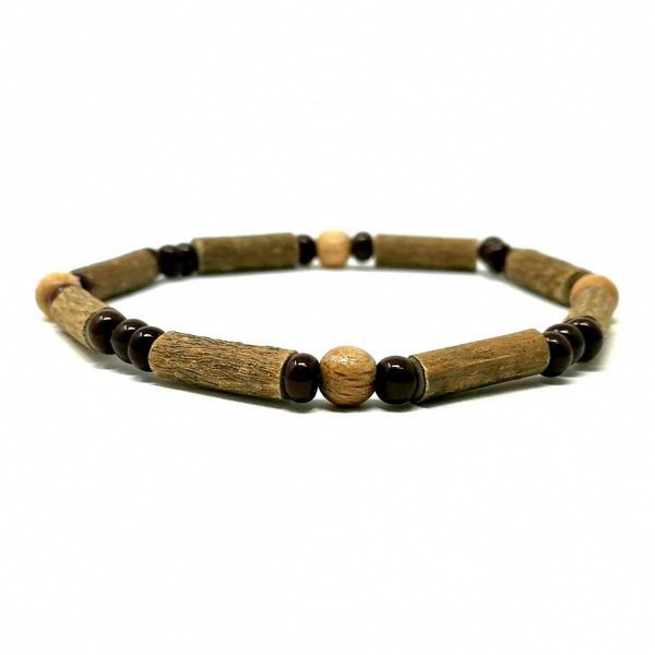 Bracelet simple antioxydant au bois de noisetier naturel