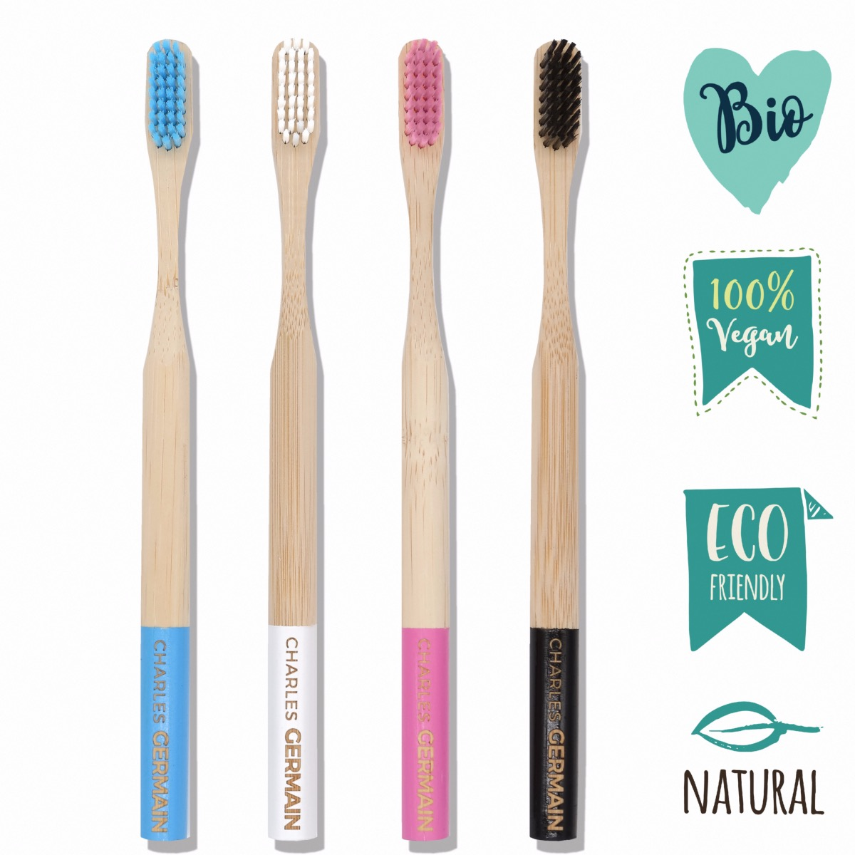 Brosses à dents en Bambou naturel coffret de 4